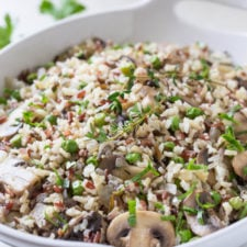 A bowl of rice pilaf, with mushrooms