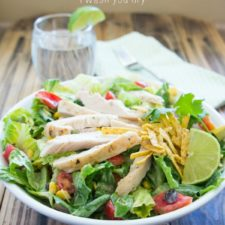 A close up of a bowl of Zesty Chipotle Chopped Chicken Salad