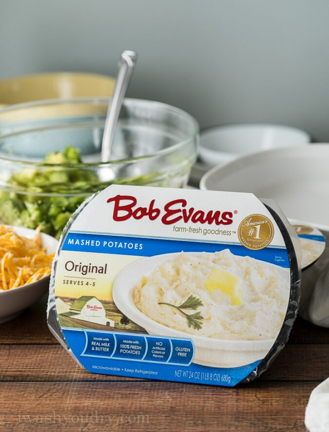 Use Bob Evans Original Mashed Potatoes to whip up this super quick and easy Loaded Broccoli Cheese Mashed Potato Casserole!