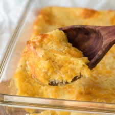 This super easy Cheesy Corn Pudding Casserole is a quick and easy side dish recipe that is perfect for the holidays!