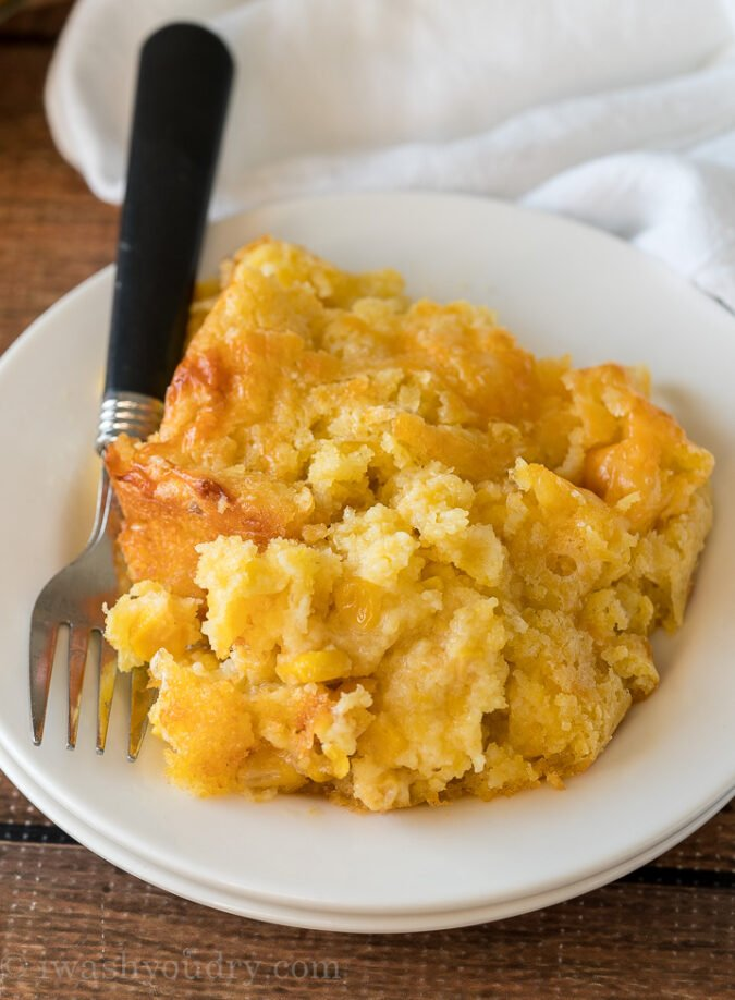 WOW! This super easy Corn Pudding Casserole Recipe has quickly become a family favorite! It comes together so fast and with simple ingredients too!