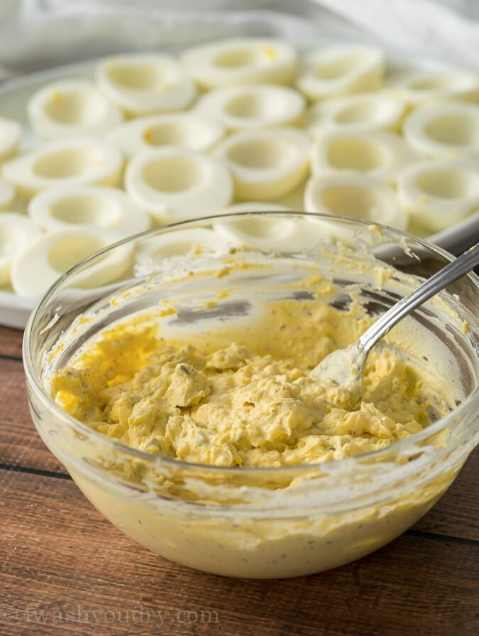 Combine the Deviled Egg filling ingredients in a bowl and mash until desired consistency. Fill up the egg whites and enjoy!