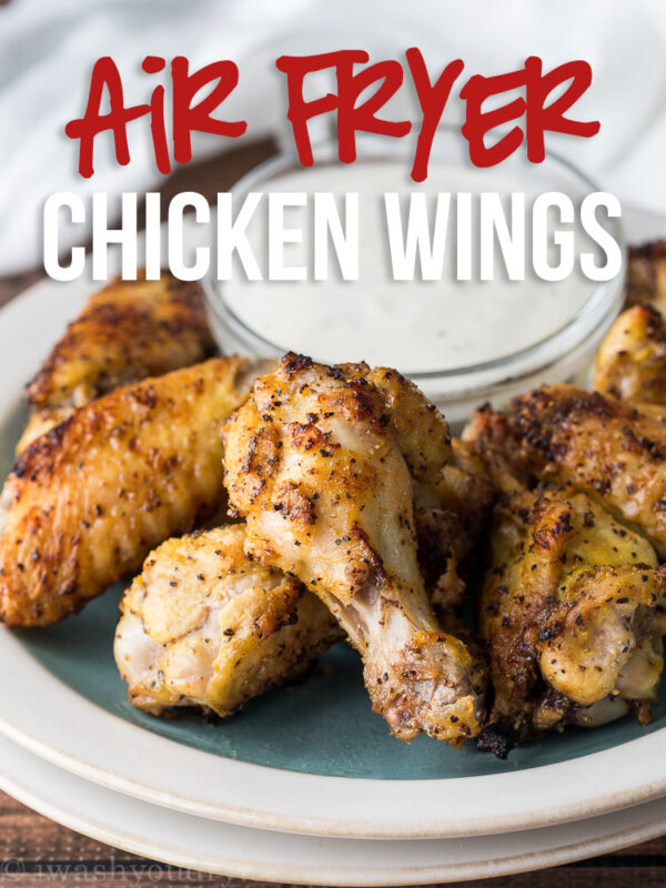 These Air Fryer Lemon Pepper Chicken Wings are just two ingredients and ready in 20 minutes!