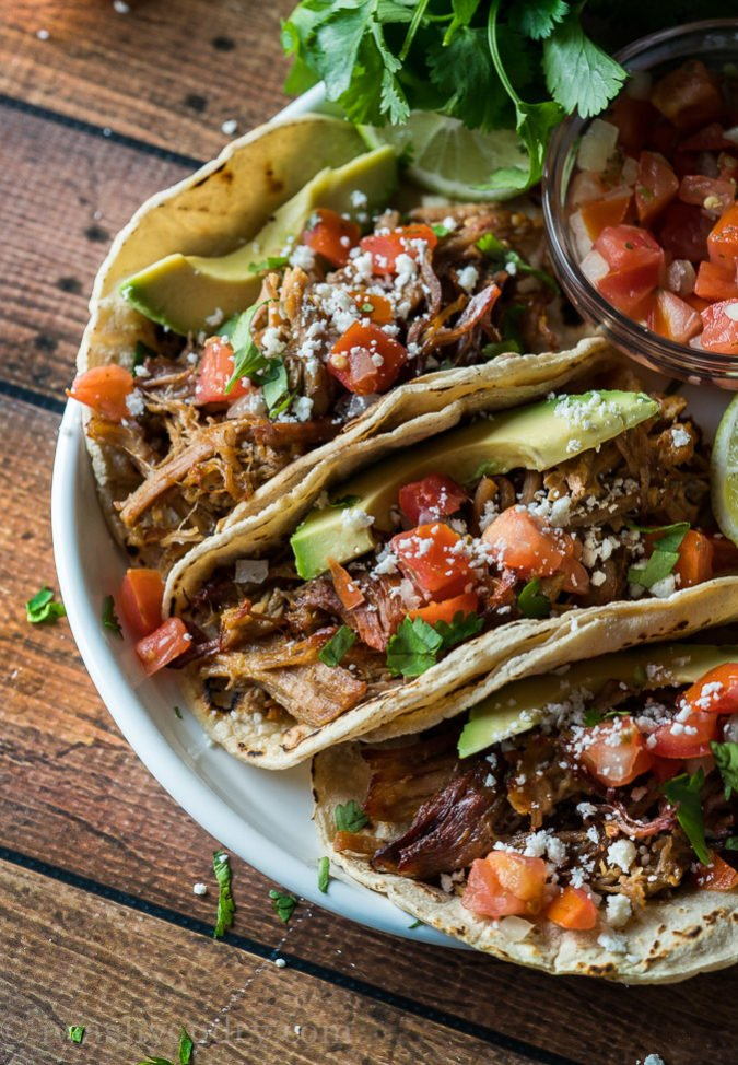 OMG! These Crispy Instant Pot Pork Carnitas are seriously SO GOOD! I couldn't stop eating the pork off the tray!