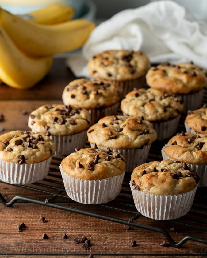 These delicious Banana Muffins have loads of chocolate chips and are filled with protein rich greek yogurt too!