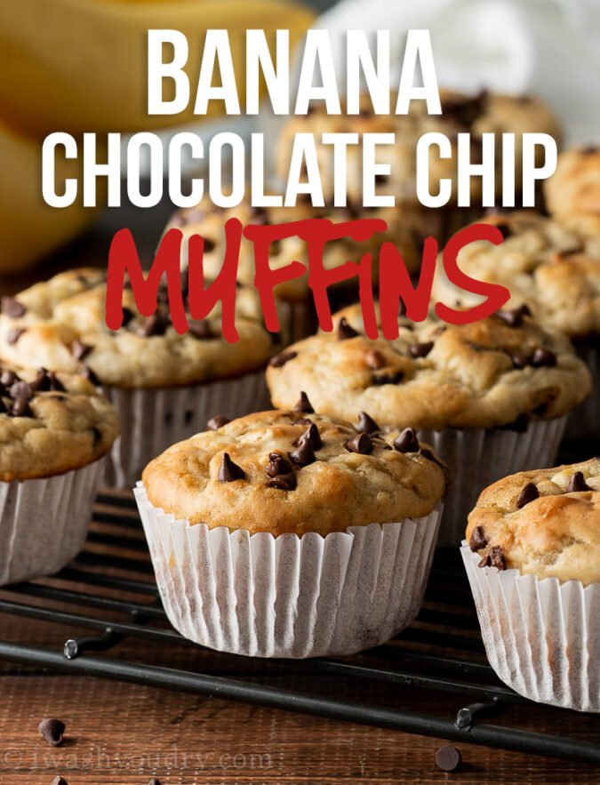 These super easy Banana Chocolate Chip Muffins are mixed up in just one bowl and ready in about 30 minutes!