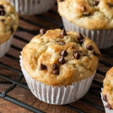 This Chocolate Chip Banana Muffin Recipe is a quick and easy recipe that makes a dozen muffins!