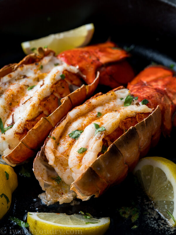 Perfectly Broiled Lobster Tails ready to enjoy in about 10 minutes! So much better than going to a fancy restaurant!