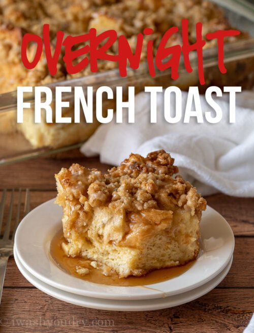 This super easy French Toast Casserole is soaked in an egg mixture overnight, topped with a brown sugar crumble and then baked to perfection!