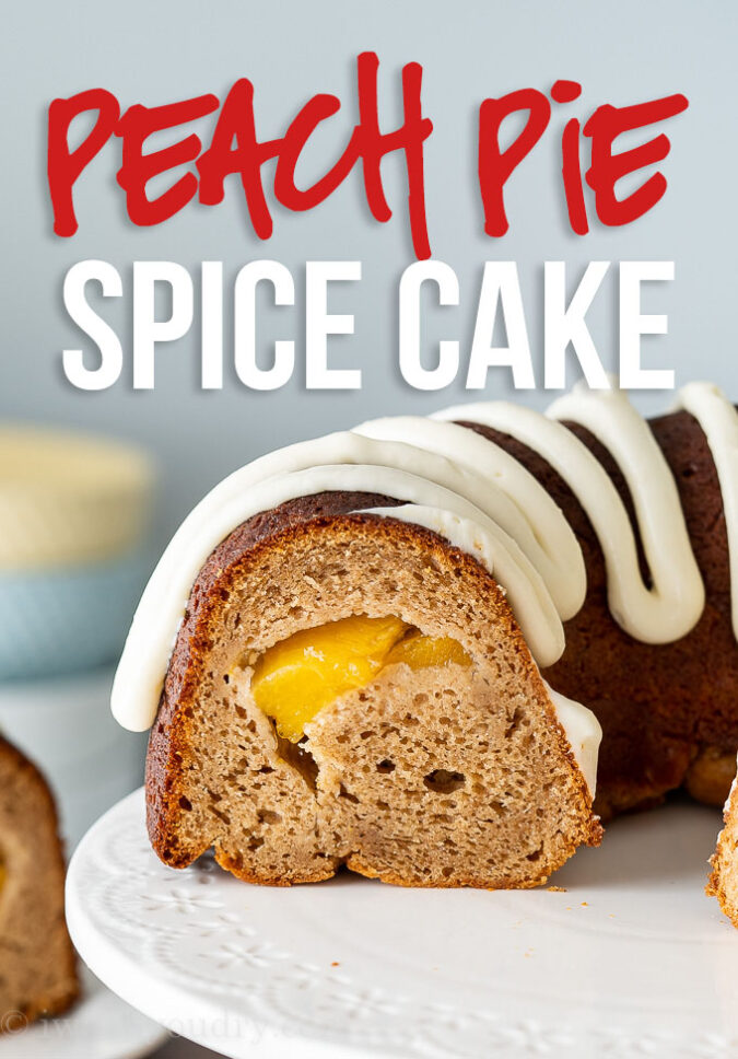 This Peach Pie Spice Cake Recipe is a deliciously moist bundt cake that has a surprise peach pie filling!