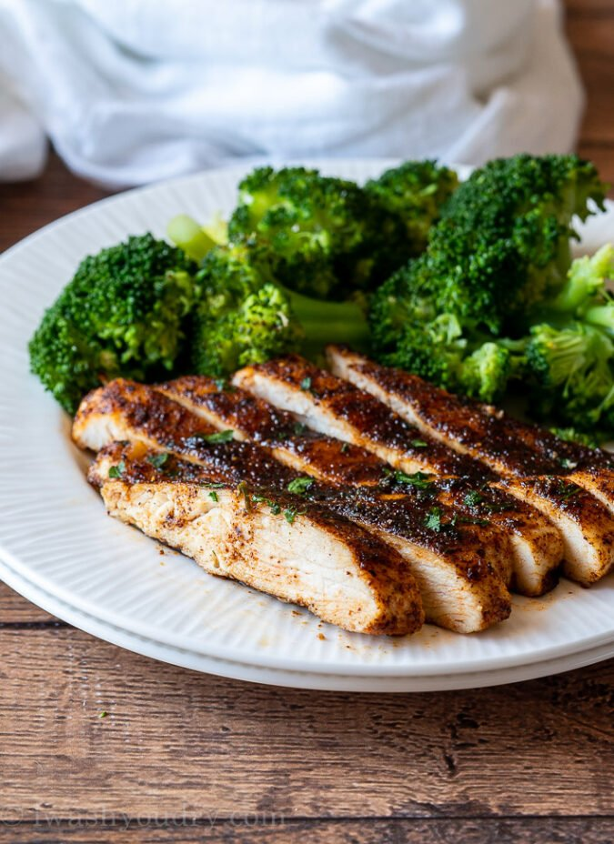 Plate of sliced chicken breast with broccoli.