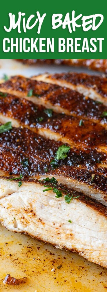 This Juicy Oven Baked Chicken Breast Recipe is quick and easy, perfect for a busy weeknight dinner!