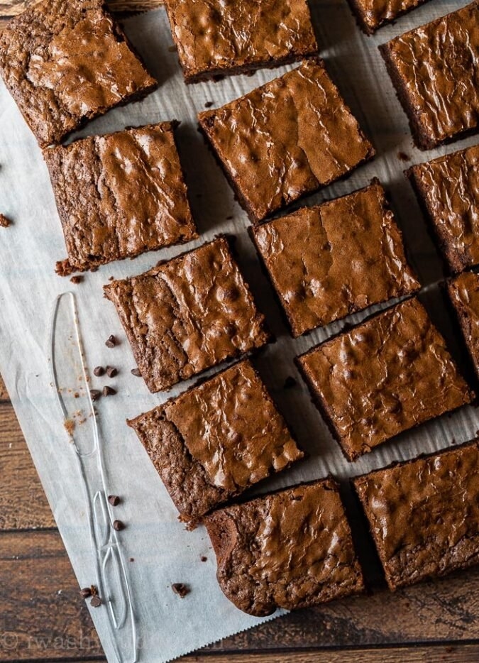 The easiest way to slice brownies is with a plastic knife! You'll be shocked at how easy it is!
