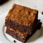 The crackled, glossy top of these brownies is irresistible!