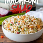 This Simple Macaroni Salad Recipe is filled with all the classic ingredients, tossed in a creamy sauce and perfect for summer potlucks and parties!