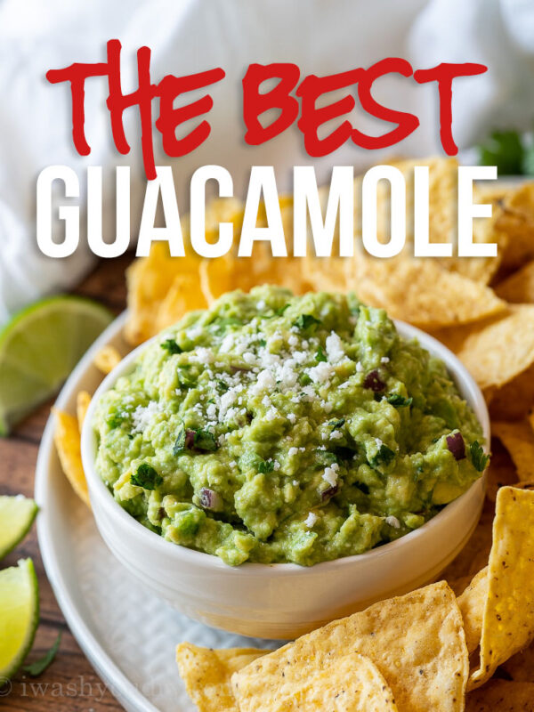 This is the BEST Classic Guacamole Recipe out there! Filled with creamy avocados, diced onion, jalapeño and just the right amount of lime juice!