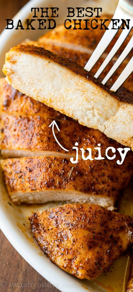 pinterest image of juicy baked chicken on plate.