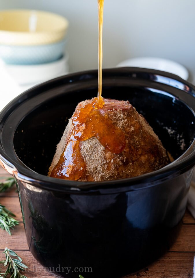 Honey and Brown Sugar Ham cooked in the slow cooker!