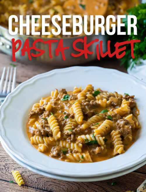 This super easy Cheeseburger Pasta Skillet is filled with seasoned ground beef and tender pasta in a cheesy savory sauce. Perfect for an easy weeknight dinner!