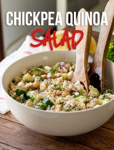 A bowl of food, with Chickpea and Cucumber