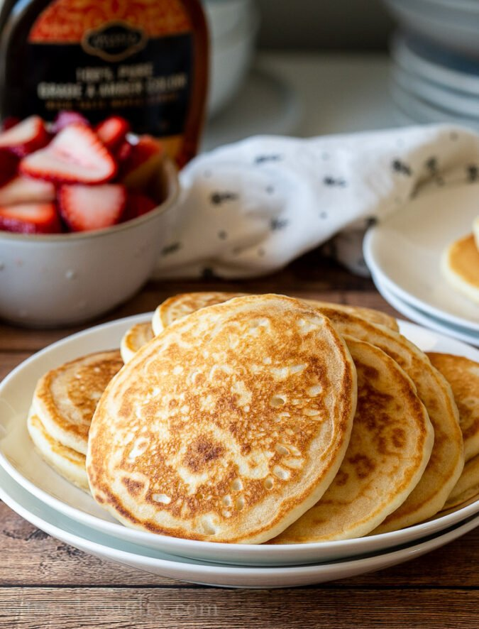 Soft and fluffy pancakes made with simple ingredients that everyone has on hand!