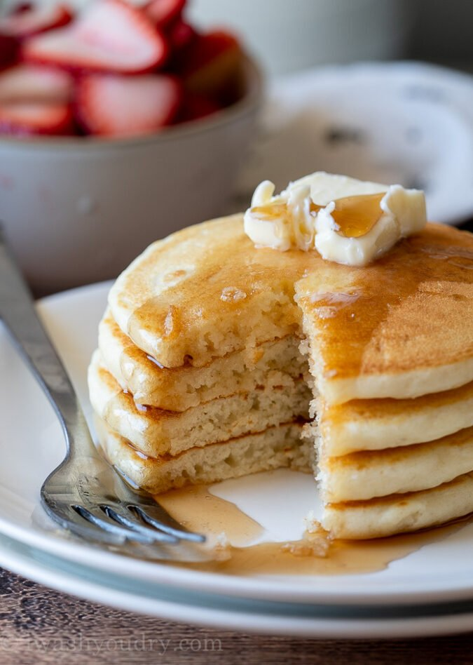 Light and fluffy, buttery and delicious Classic Pancake Recipe is a super easy weekend breakfast recipe!