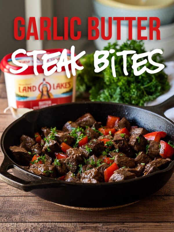 This Garlic Butter Steak Bites Recipe is a quick and easy dinner or appetizer recipe with just a few simple ingredients.