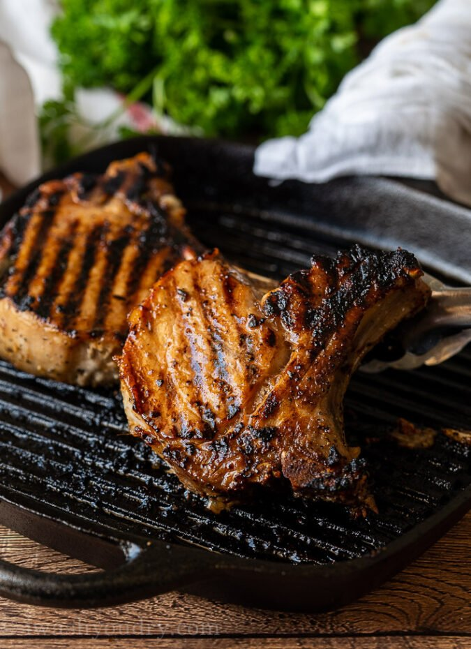 If cooking the pork chops on a grill pan, give them a good sear, before popping in the oven to finish cooking.