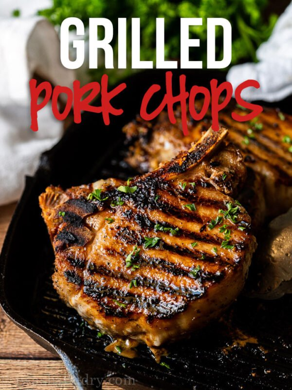 This super easy Grilled Pork Chop Recipe is quickly marinated in my signature blend and then grilled to juicy perfection.