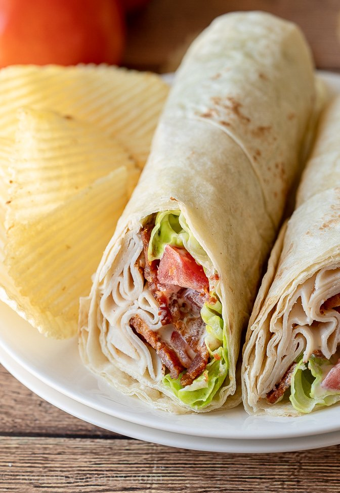 Quick and easy lunch wraps filled with sliced chicken, bacon and ranch dressing.