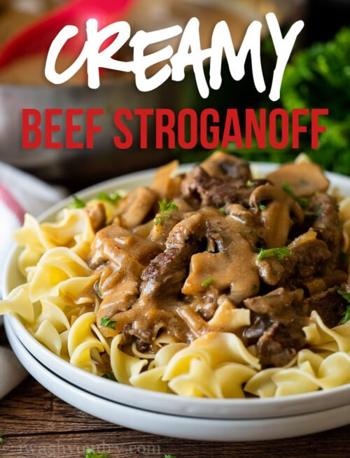 This Creamy Beef Stroganoff Recipe is filled with tender strips of steak in a creamy and savory mushroom gravy sauce.