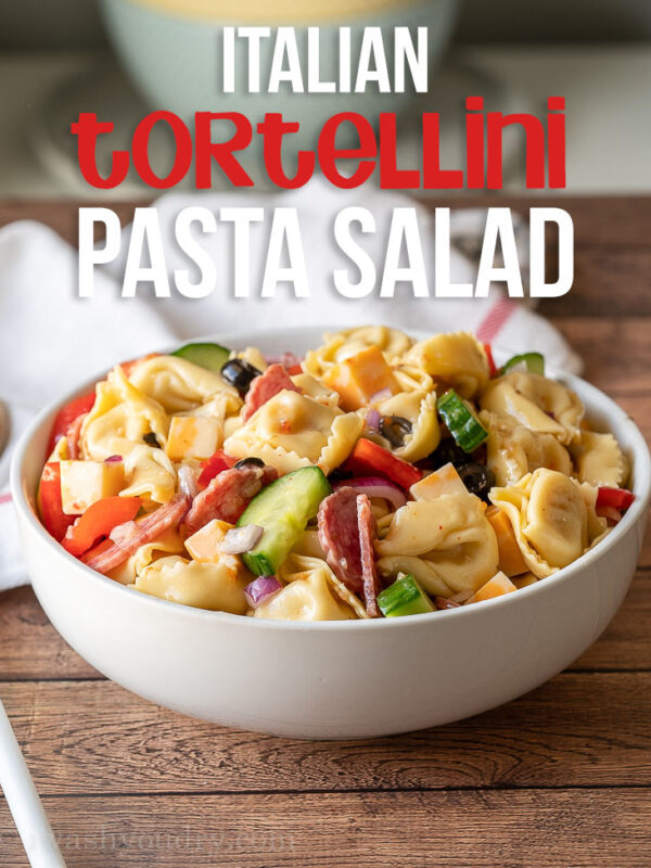This super quick Italian Tortellini Pasta Salad Recipe is filled with plump tortellini and tossed in a zingy Italian dressing, making it perfect for a summer side dish!