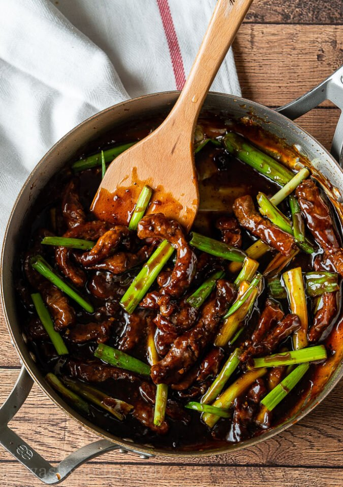 Cook the Mongolian Beef Sauce in the pan before adding the beef back in.