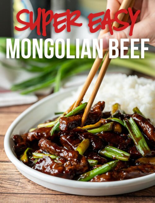 This super easy Mongolian Beef Recipe is filled with tender strips of steak in a sweet and savory sauce, ready in 30 minutes or less!