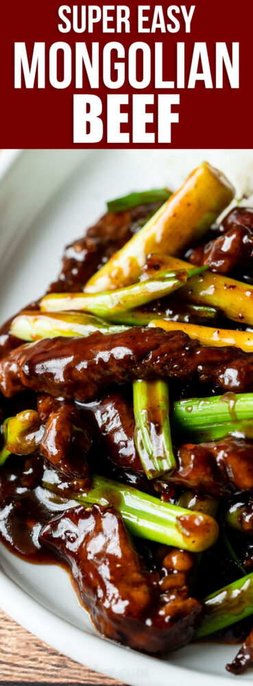 YUM! This super easy Mongolian Beef Recipe is filled with tender strips of steak in a sweet and savory sauce, ready in 30 minutes or less!
