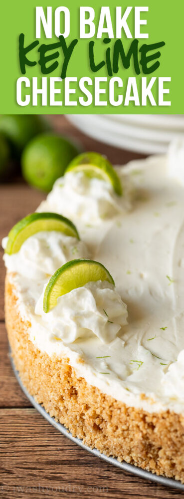 This Key Lime No Bake Cheesecake is perfectly smooth and creamy with a crisp graham cracker crust.