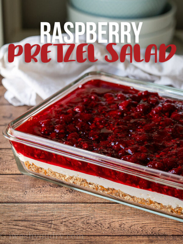 This cool and creamy Raspberry Pretzel Salad Recipe is the perfect summer treat with three layers of deliciousness!