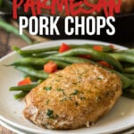 This Garlic Parmesan Pork Chop Recipe is super quick and easy to make with a crispy parmesan crust on the outside.
