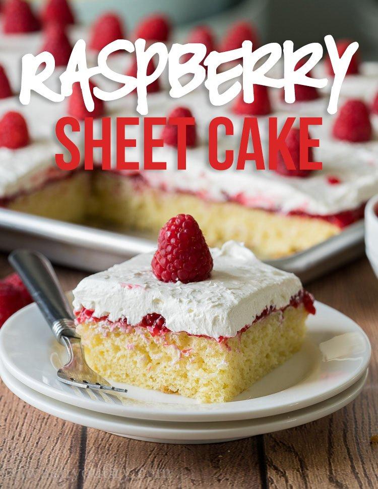 Fine Vanilla Raspberry Sheet Cake Recipe I Wash You Dry Funny Birthday Cards Online Fluifree Goldxyz