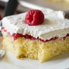 A piece of cake on a plate, with Raspberry