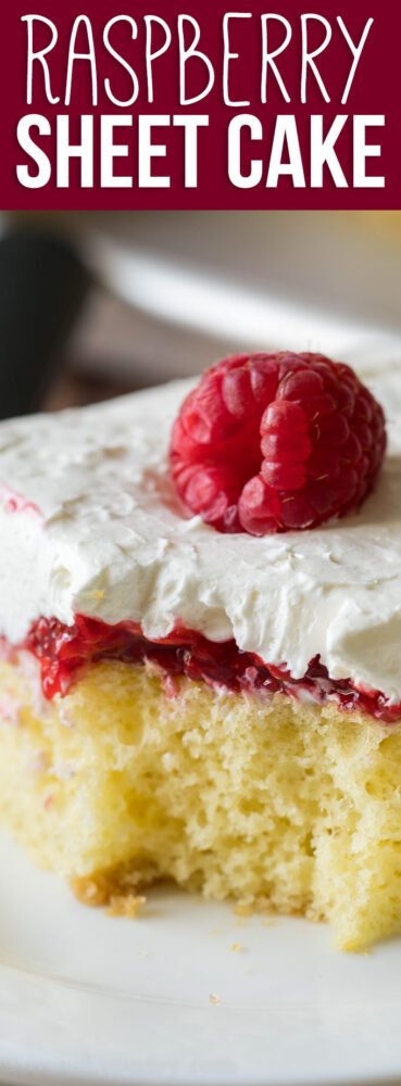 YUM! This Vanilla Raspberry Sheet Cake Recipe is super easy and the perfect summer potluck dessert recipe!