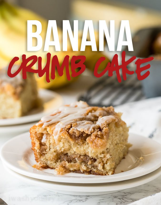 This Banana Crumb Cake Recipe is a moist and tender banana cake with layers of brown sugar crumb topping and a sweet icing drizzle.
