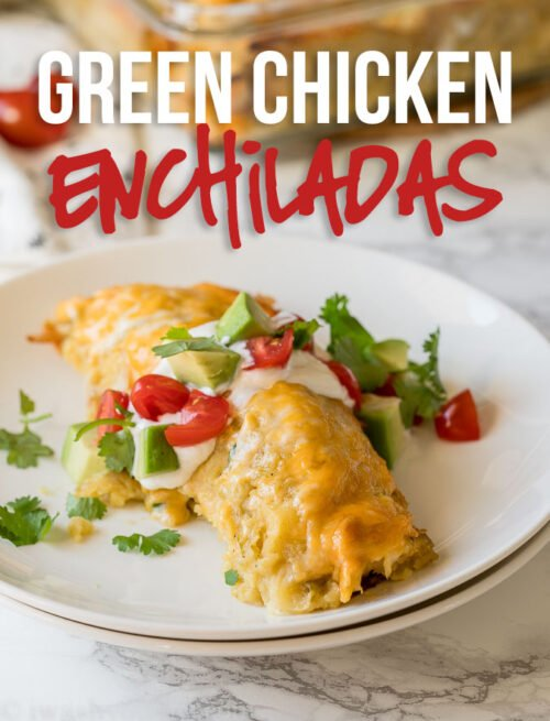 This Green Chicken Enchiladas Recipe is filled with shredded rotisserie chicken, green chiles, sour cream and cheese then smothered in a green enchilada sauce and more cheese, for a quick weeknight dinner!