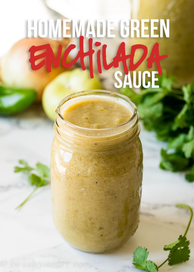 This super quick and easy Homemade Green Enchilada Sauce Recipe is filled with tomatillos, green chilies and a little jalapeño, sautéd and then blended to your preferred consistency. Perfect for topping burritos, enchiladas and even great as a salad dressing!