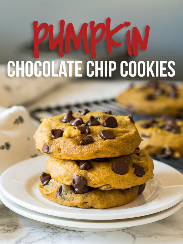 This is the BEST Pumpkin Chocolate Chip Cookies Recipe! Filled with warm pumpkin pie spice, sweet chocolate chips and loads of pumpkin, these soft cookies will melt your heart!