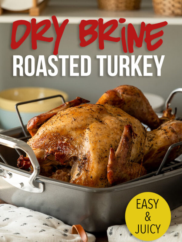 This Dry Brine Roasted Turkey Recipe will give you juicy turkey breasts, crispy skin and perfectly seasoned meat with very little prep!