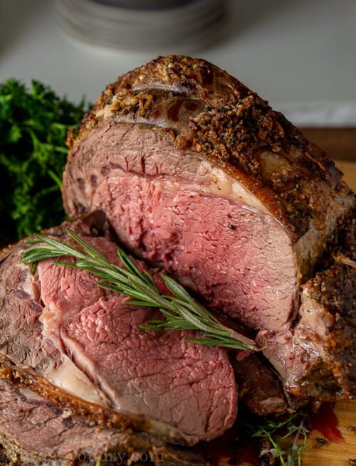 A close up of a prime rib roast