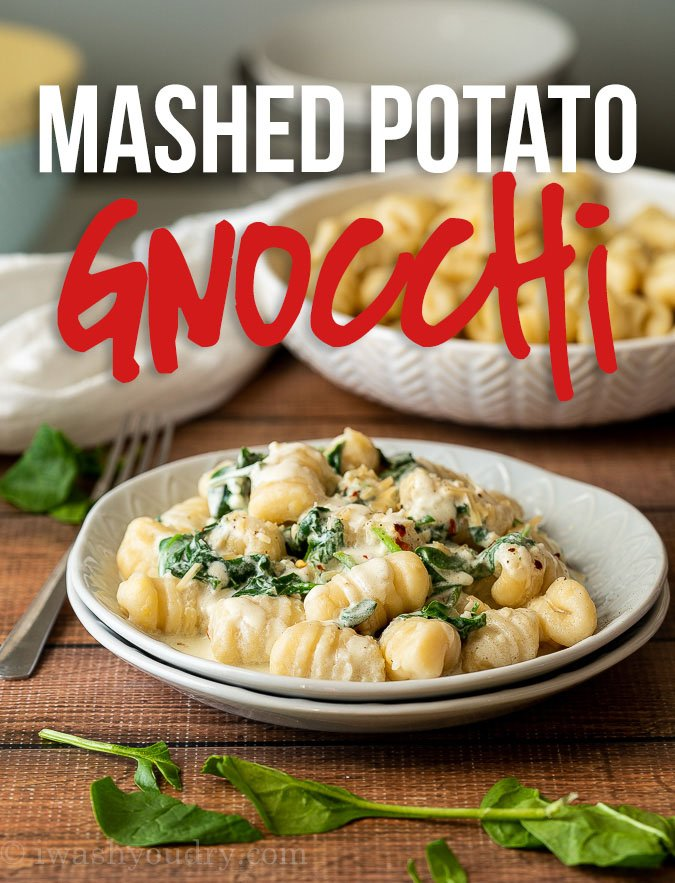 This delightfully simple Mashed Potato Gnocchi Recipe is made with just 3 ingredients and tossed in a rich spinach cream sauce that's to die for!