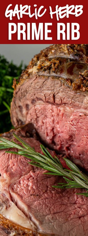 Perfectly cooked Standing Rib Roast with creamy horseradish sauce!