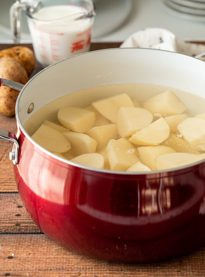 Cover the potatoes with cool, salted water before bringing to a boil.